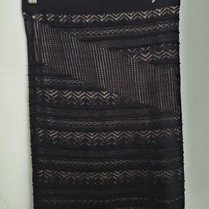 RACHEL Rachel Roy Skirts - Rachel Roy Black Lined Crocheted Tube Skirt